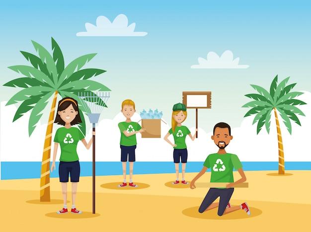Aktywiści Ludzie Sprzątają Plażę Premium Wektorów