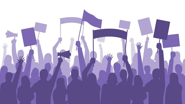 Aktywiści Protestują. Banery Polityczne Zamieszki Znak, Ludzie Posiadający Protesty Afisz I Transparent Manifestacji Premium Wektorów