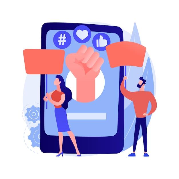 Aktywizm Online Streszczenie Koncepcja Ilustracji Wektorowych. Aktywizm Internetowy, Komunikacja Cyfrowa, Publikowanie W Mediach Społecznościowych, Dostarczanie Informacji, Grupa Docelowa, Abstrakcyjna Metafora Marketingu Hashtagowego. Darmowych Wektorów
