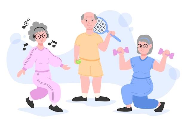 Aktywni Ludzie Starsi Darmowych Wektorów