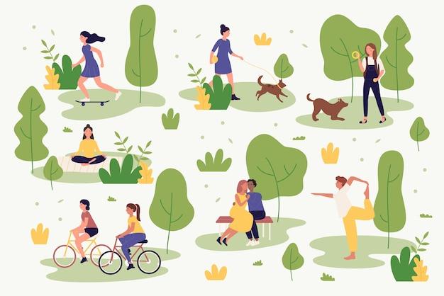 Aktywni Ludzie W Lato Park Ilustracji. Postaci Z Kreskówek Chodzą, Jeżdżą Na Rowerze, Uprawiają Jogę, Odpoczywają, Grają I Biegają. Aktywność Na świeżym Powietrzu W Parku Miejskim Premium Wektorów