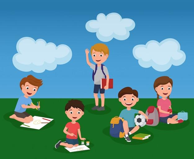 Aktywność dzieci w letnim przedszkolu kolorowa. Premium Wektorów