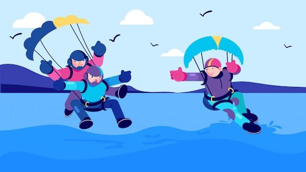 Aktywność Sportowa Lato, Morze Skok Spadochronowy Ilustracja. Mężczyzna Kobieta Ludzie Postać Z Kreskówki Zabawy Ekstremalne Spadochroniarstwo. Premium Wektorów