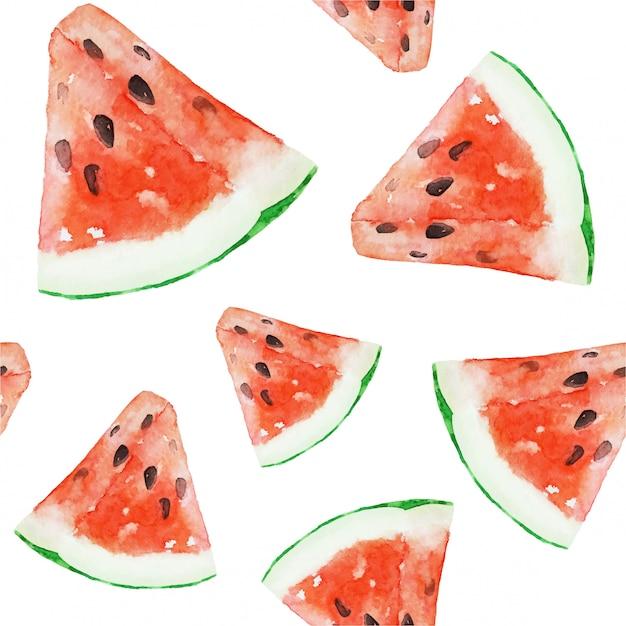 Akwarela arbuz zdrowe wegańskie jedzenie wzór Premium Wektorów