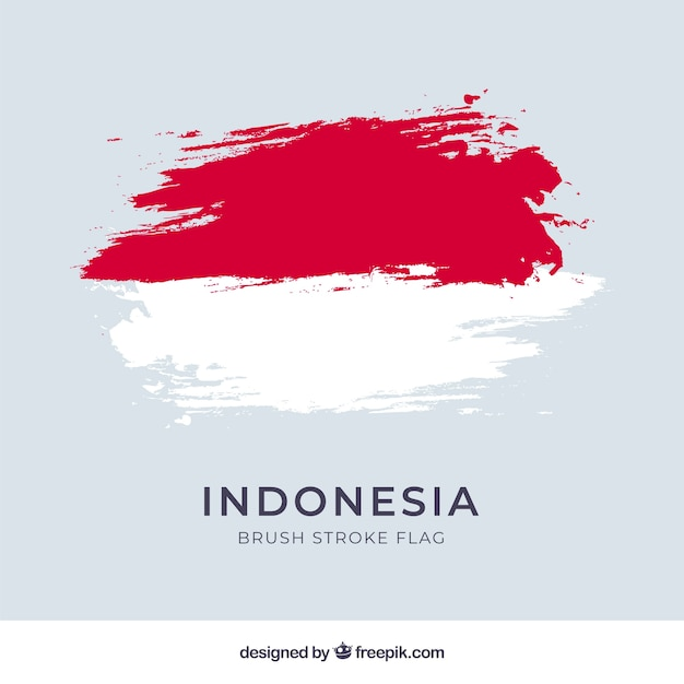 Akwarela Banderą Indonezji Premium Wektorów