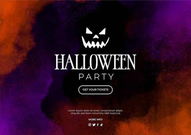 Akwarela Baner Na Halloween Darmowych Wektorów