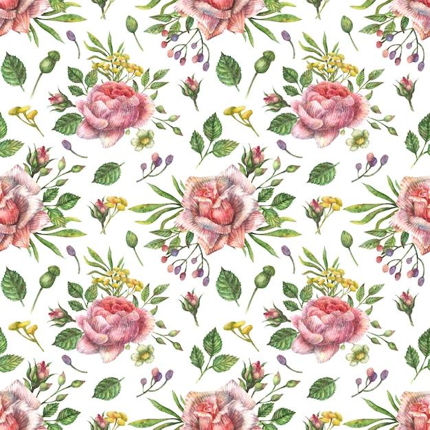 Akwarela Bezszwowe Botaniczny Wzór Jasne Różowe Kwiaty Piwonii, Róż I Innych Roślin I Liści. Premium Wektorów