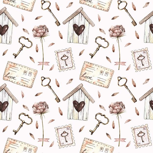 Akwarela bezszwowe wzór z birdhouse, piwonia, klucze, znaczki i listów w stylu vintage. Premium Wektorów