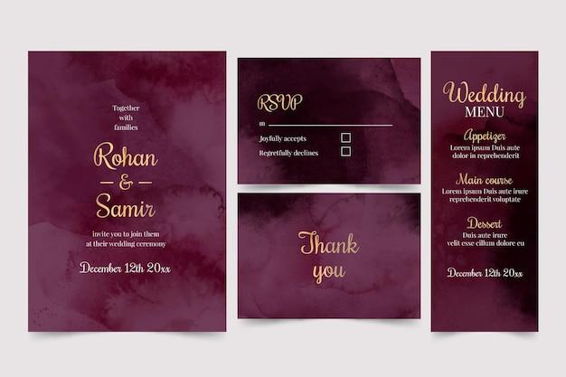Akwarela Bordowy I Złoty Pakiet Papeterii ślubnej Darmowych Wektorów