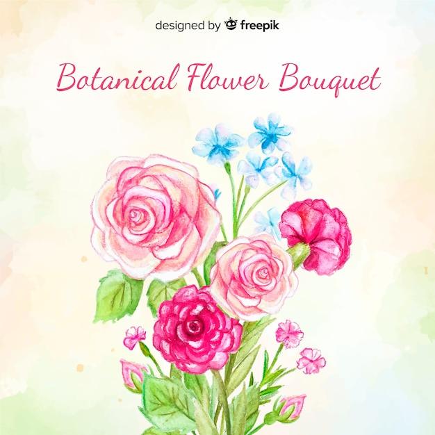 Akwarela botaniczny bukiet kwiatów Darmowych Wektorów