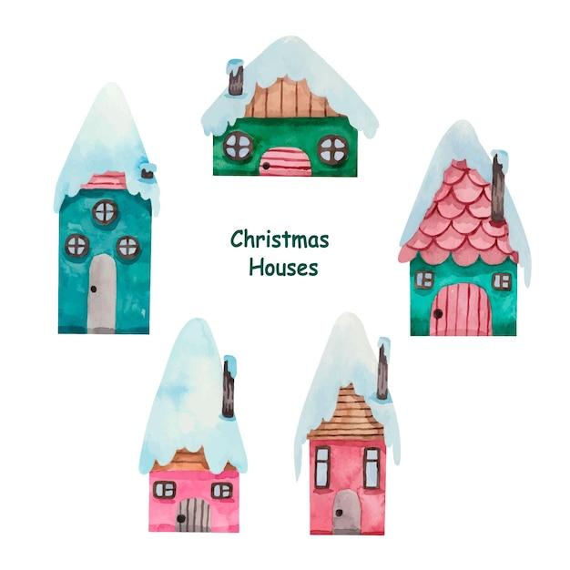 Akwarela Boże Narodzenie Domy Zimowe Premium Wektorów