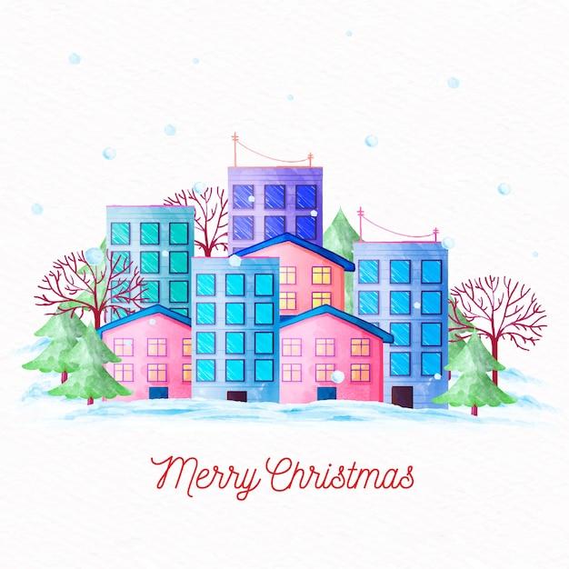 Akwarela Boże Narodzenie Miasta Tło Darmowych Wektorów