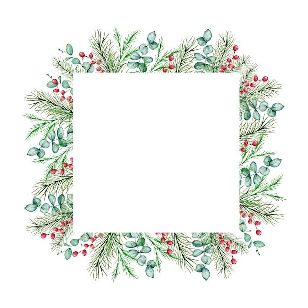 Akwarela Boże Narodzenie Ramki Z Zimowymi Gałęziami Jodły I Sosny, Jagody I Gałęzie Eukaliptusa. Premium Wektorów