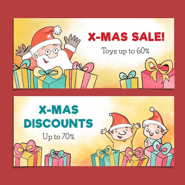 Akwarela Boże Narodzenie Sprzedaż Banery Szablon Darmowych Wektorów