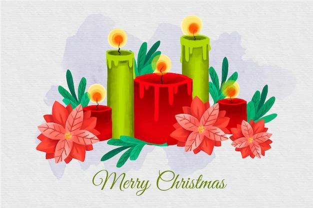 Akwarela Boże Narodzenie świeca Tło Darmowych Wektorów