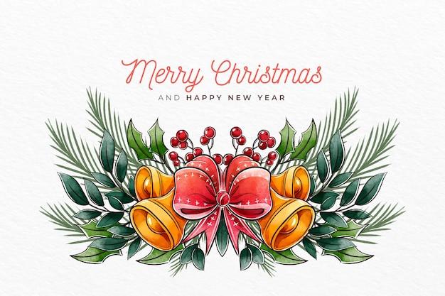 Akwarela Boże Narodzenie Tło Z Dzwoneczkami Darmowych Wektorów
