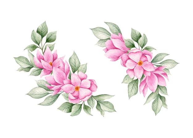 Akwarela Bukiet Kwiatów Magnolii Zestaw Kolekcja Premium Wektorów