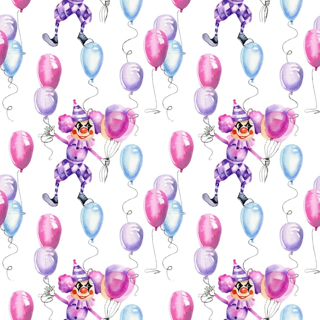 Akwarela Cyrkowych Klaunów Z Balonów Powietrznych Wzór Premium Wektorów