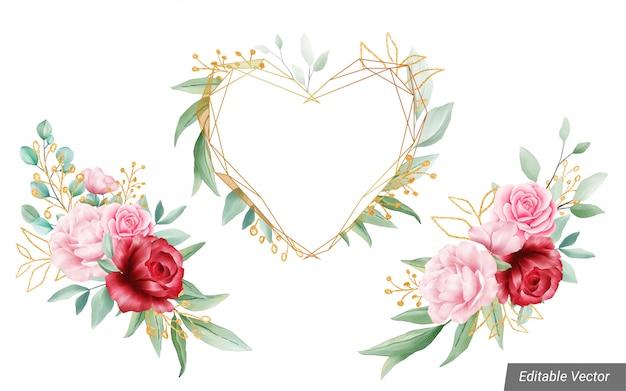 Akwarela Dekoracje Kwiatowe Z Geometryczną Ramą Na ślub Lub Kartkę Z życzeniami Premium Wektorów