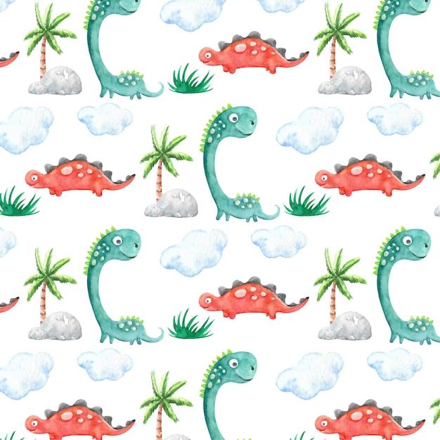 Akwarela Dinozaurów Wzór Premium Wektorów