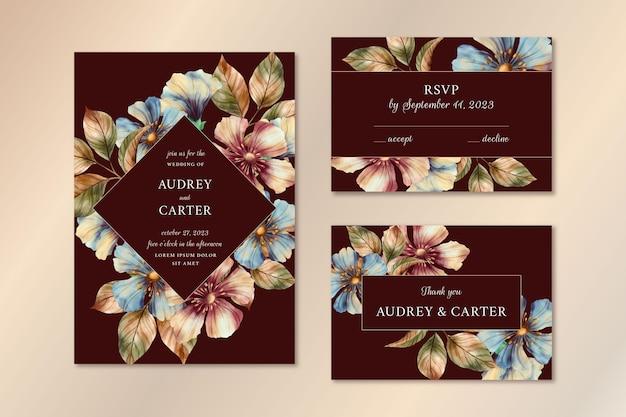 Akwarela Dramatyczny Botaniczny Pakiet Papeterii ślubnej Darmowych Wektorów