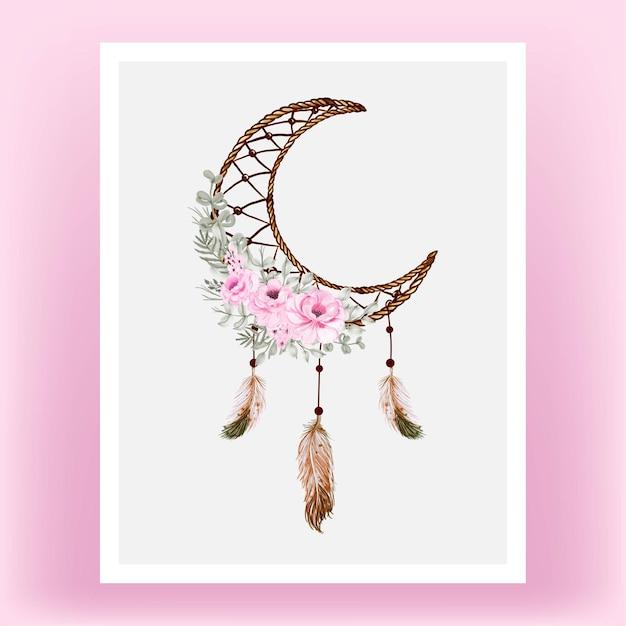 Akwarela Dream Catcher Rose Pink Flower Feathe Darmowych Wektorów