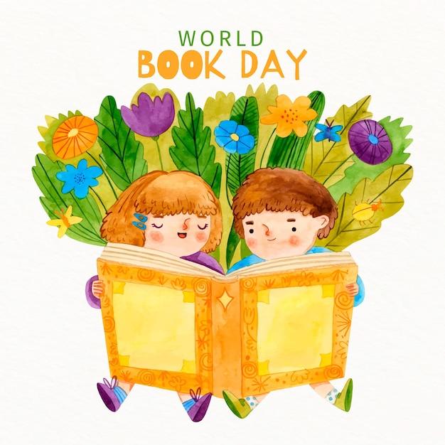 Akwarela Dzieci Czytające Z Książki Darmowych Wektorów