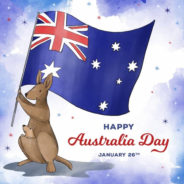Akwarela Dzień Australii Darmowych Wektorów