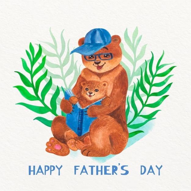 Akwarela Dzień Ojca Ilustracja Z Niedźwiedziami Darmowych Wektorów