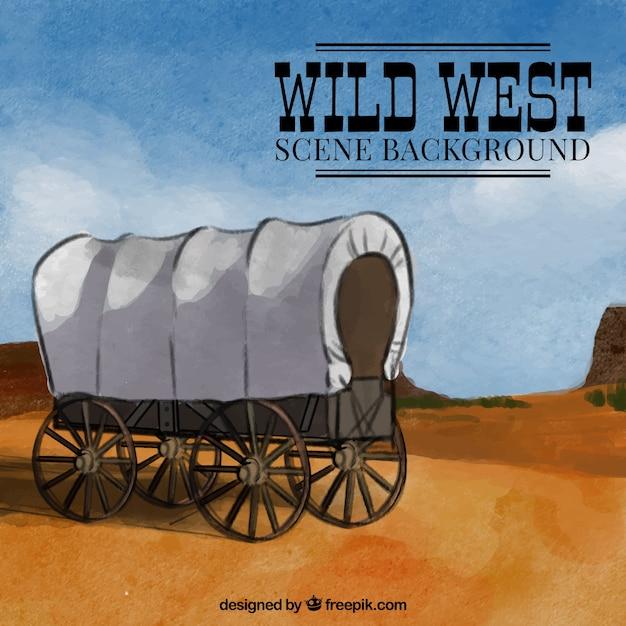 Akwarela Dziki Zachód Tło Z Przewozu Darmowych Wektorów