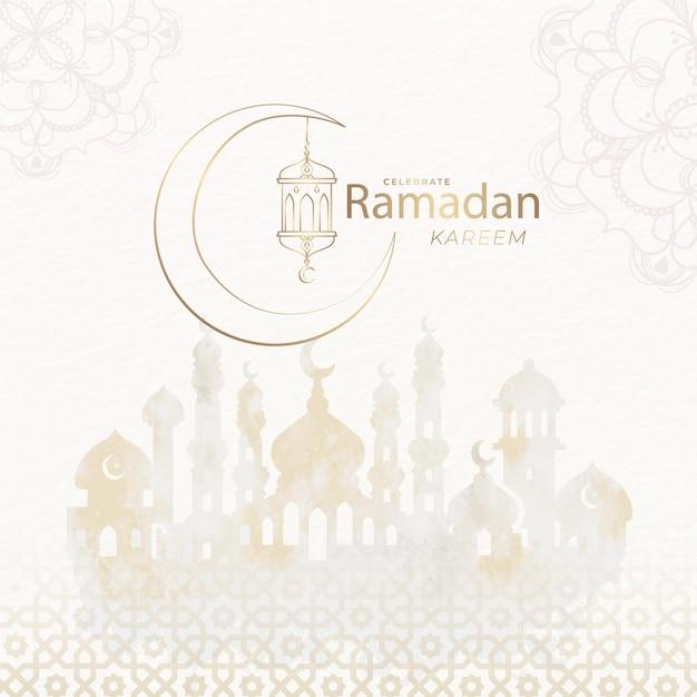 Akwarela Eid Mubarak Z Meczetu I Księżyca Darmowych Wektorów