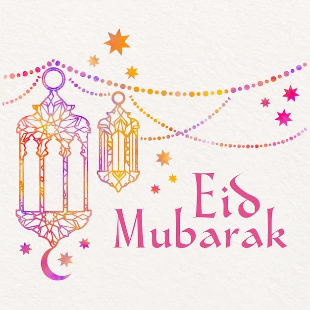 Akwarela Eid Mubarak Z Wiszącymi świecami I Gwiazdami Darmowych Wektorów