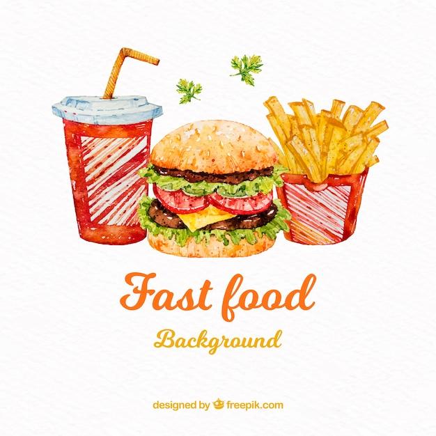 Akwarela Fast Food Tło Darmowych Wektorów