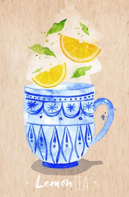 Akwarela Filiżanka Z Cytryny Herbaty, Rysunek Na Tle Papieru Kraft Premium Wektorów