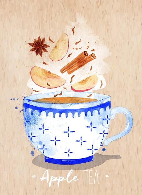 Akwarela Filiżanka Z Herbata, Jabłko, Cynamon, Anyż Rysunek Na Tle Papieru Kraft Premium Wektorów
