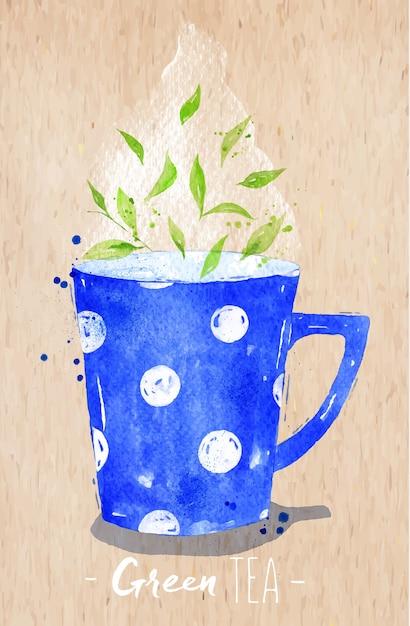 Akwarela Filiżanka Z Zielonej Herbaty, Rysunek Na Tle Papieru Kraft Premium Wektorów