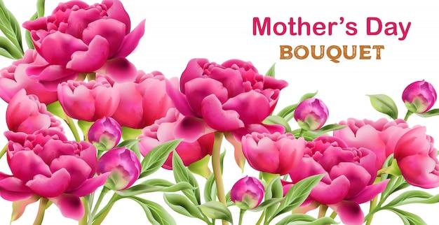 Akwarela Fioletowe Piwonie Kwiaty Wiosenny Bukiet Z Zielonych Liści Premium Wektorów