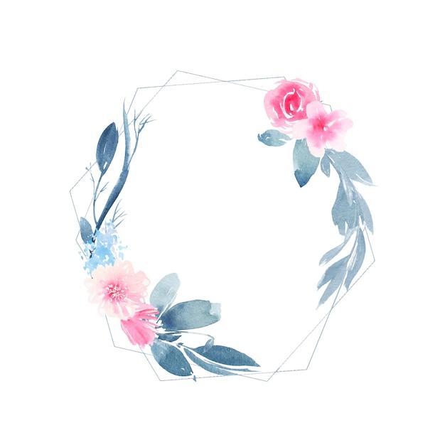 Akwarela geometryczny okrągły wieniec z różową różą i liśćmi indygo Darmowych Wektorów