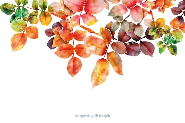 Akwarela gradientowe liście jesienią tło Darmowych Wektorów