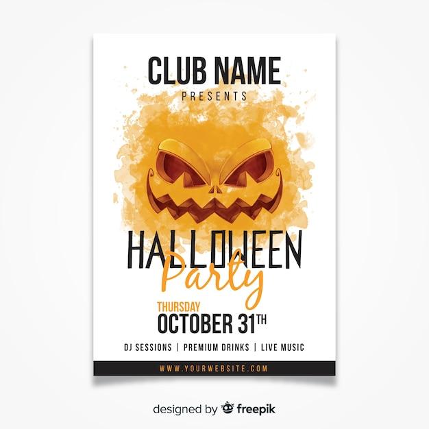 Akwarela halloween party plakat szablon Darmowych Wektorów