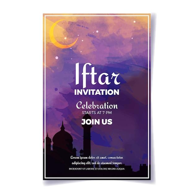 Akwarela Iftar Indyjski Szablon Zaproszenia Darmowych Wektorów