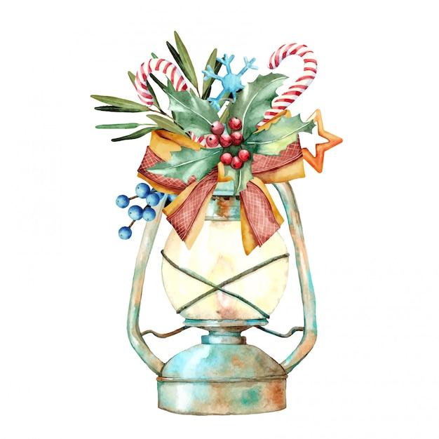 Akwarela ilustracja boże narodzenie urządzone lampy Premium Wektorów
