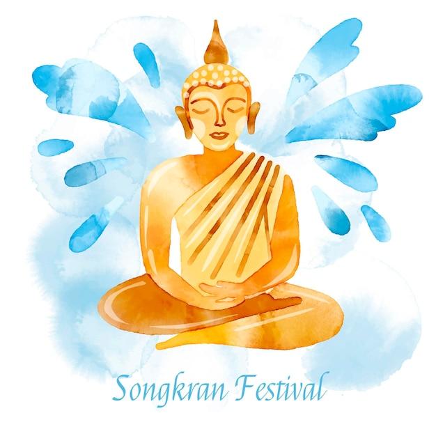 Akwarela Ilustracja Celebracja Songkran Darmowych Wektorów
