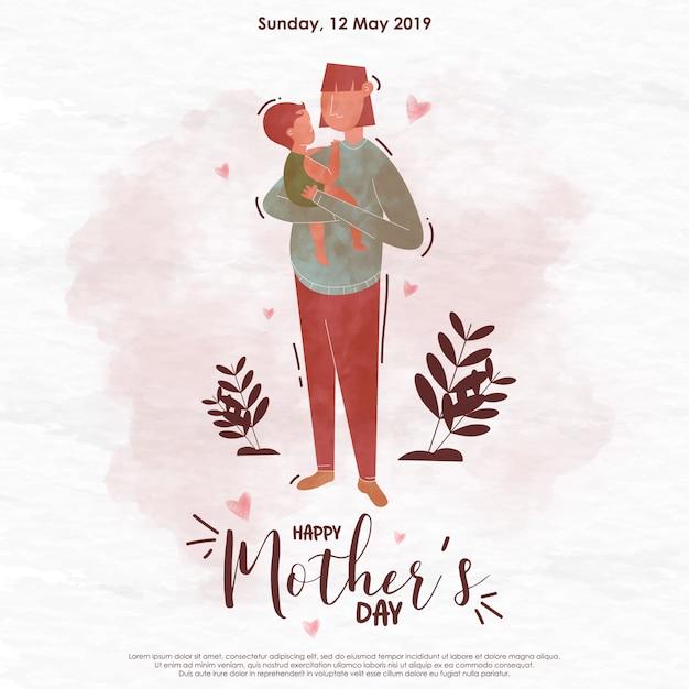 Akwarela ilustracja dzień matki Premium Wektorów