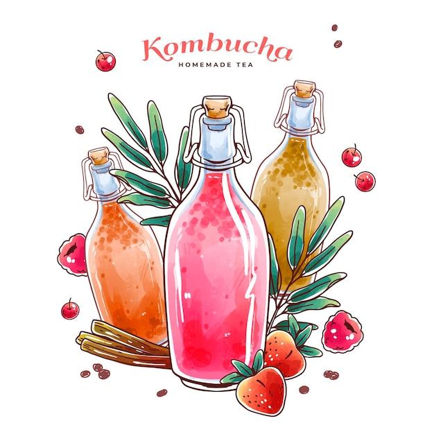 Akwarela Ilustracja Herbata Kombucha Darmowych Wektorów