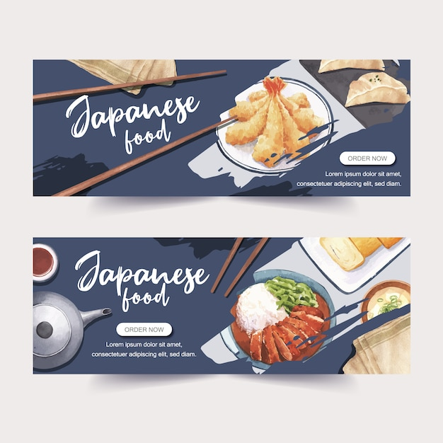 Akwarela ilustracja kreatywnych tematyczne sushi banery, reklamy i ulotki. Darmowych Wektorów