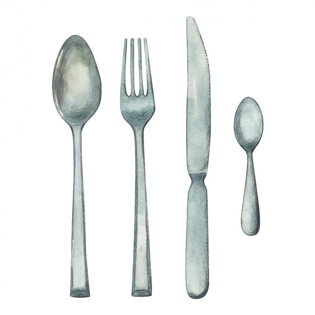 Akwarela ilustracja łyżka, widelec, nóż i łyżeczka, zestaw sztućców na białym tle. Premium Wektorów