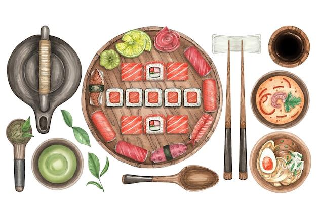 Akwarela Ilustracja Talerz Sushi, Herbata, Zupa I Laski Premium Wektorów