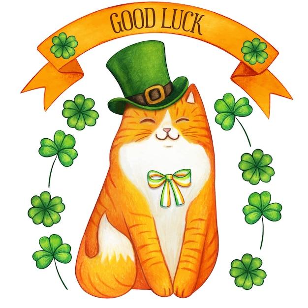 Akwarela Imbir świętego Patryka świąteczny Kot Zielony Kapelusz Premium Wektorów