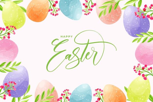 Akwarela Jaja Na Wielkanoc Z Napisem Darmowych Wektorów